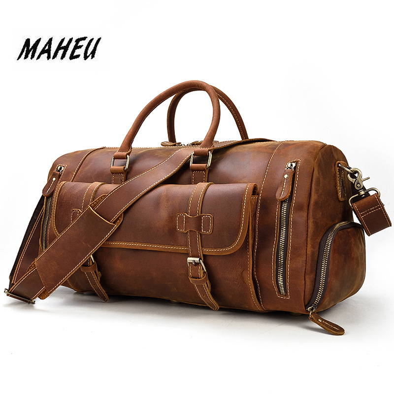 MAHEU Genuine Leather Men Travel Bags Shoe Pocket Hand Luggage Bag Large Capacity Outdoor Male Duffle Bags With Shoulder Strap-in Travel Bags from Luggage & Bags    1