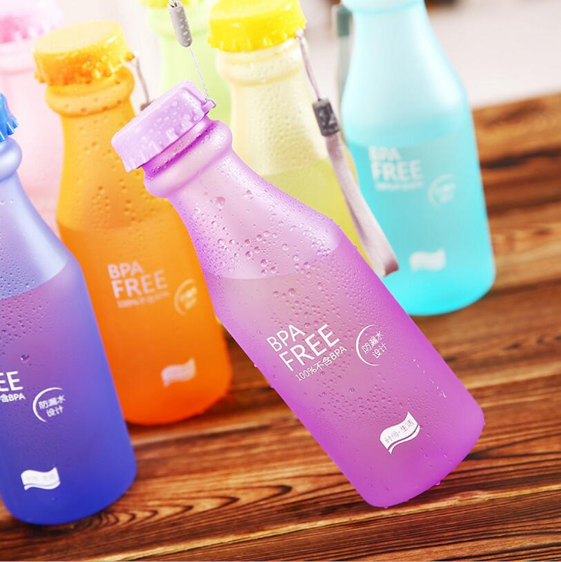 Hot 550ML Portable Leak-proof Water Bottle Outdoor Bicycle Sports Drinking Unbreakable Plastic Water Bottles Free Shipping leakage proof straw cap for drinking bottles 2 7cm random color