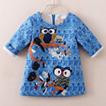 2016 Hot Kids Owl Dresses for Girls Clothes Cartoon Animal Baby Girl Mini Dress Blue Children's Clothes Vetement Fille Wholesale