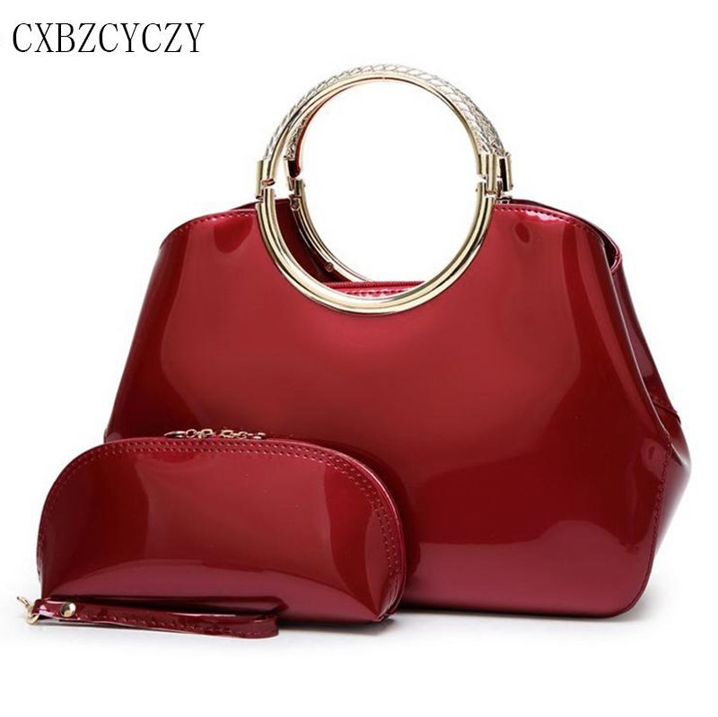 Women Handbags Luxury Patent Leather Bag Ladies Fashion Designer Evening Party Clutch Bags Bride Wedding Handbags Bolsa Feminina