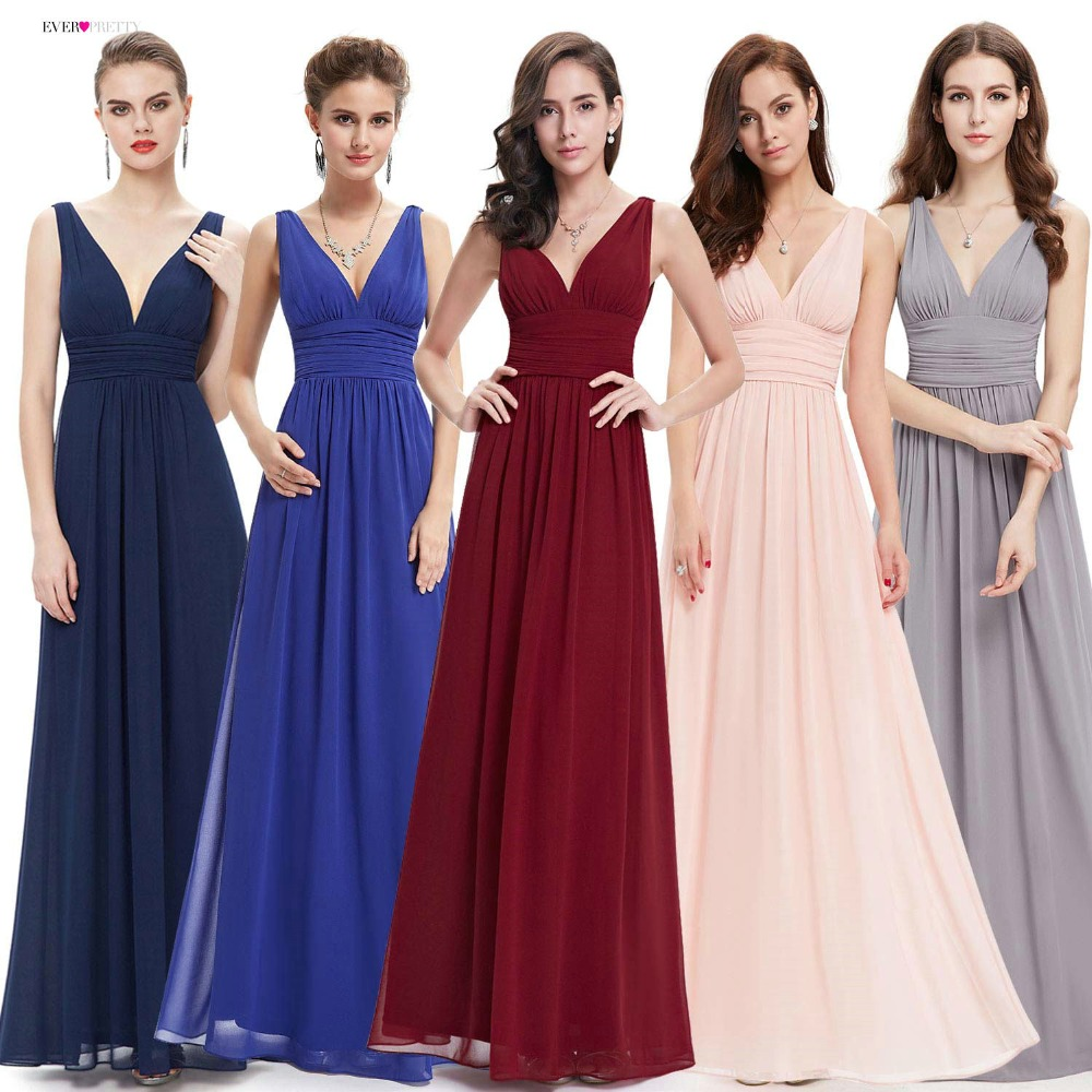Bridesmaid Dresses Ever Pretty EP09016 Double V Burgundy Elegant Long Formal Wedding Bridesmaid Dresses for 2019 Vestido Dresses(China)