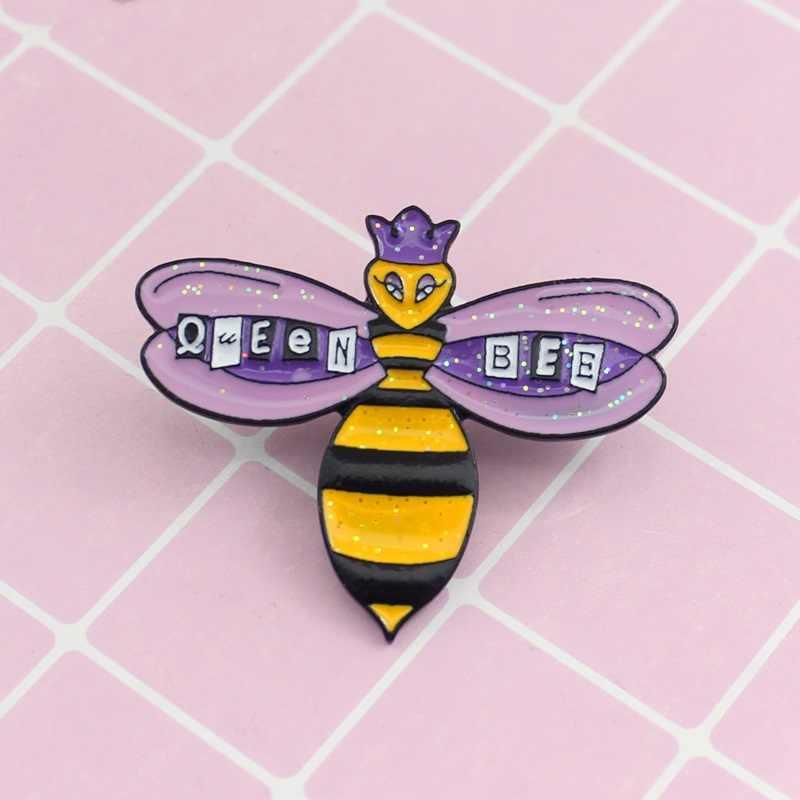 Блестящая брошь в виде пчелы сверкающая фиолетовая Корона королева пчела мультфильм эмаль значки на рюкзак шляпа приспособление для бейджа девушка ювелирные изделия друзья подарки