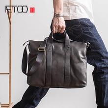 AETOO мужской деловой портативный портфель из воловьей кожи, кожаный портфель через плечо