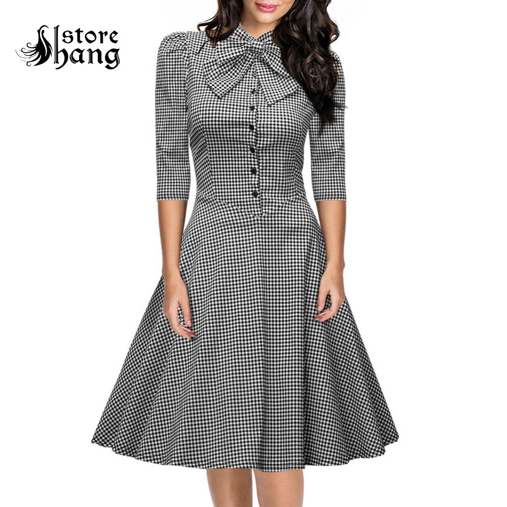 Women's Bow Neck Gingham Dress VintageElegant 1950s Half Sleeve Slim Fit A-line Wear to Work Shirt Dress Ladies Official Outfit