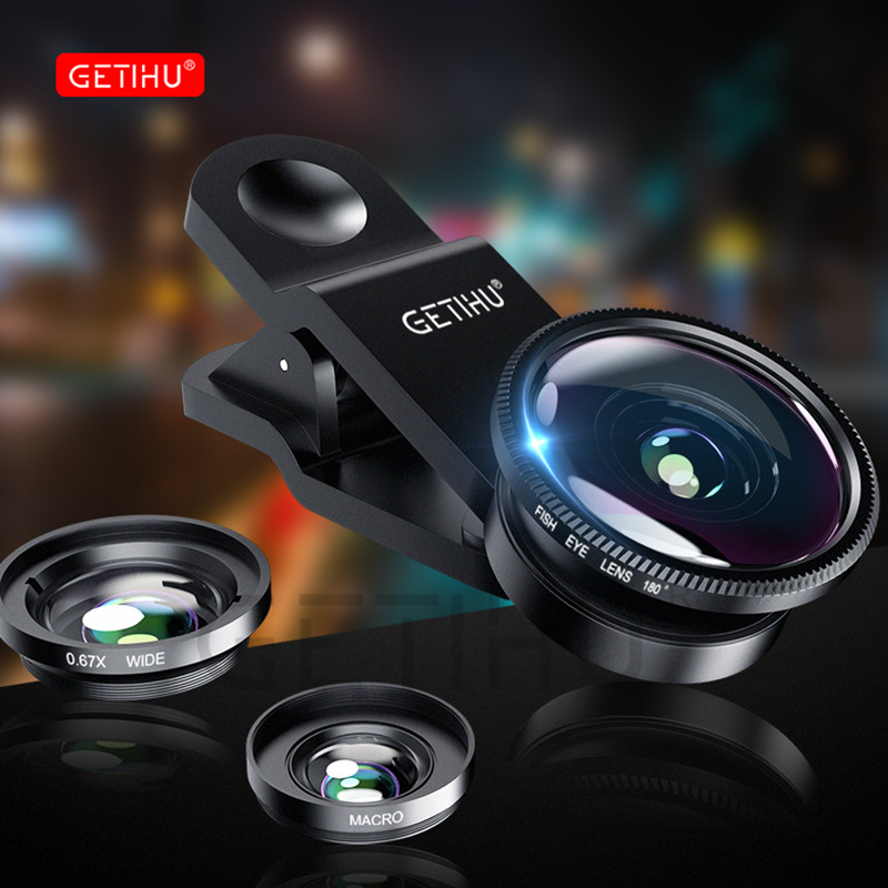 3 in 1 Wide Angle Macro Fisheye Lens Kit + Clip Smartphone Mobile Phone lenses Fish Eye for iPhone 6 6s 7 s Plus Camera Lentes image