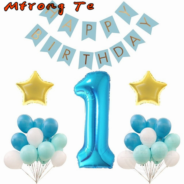 Mtrong Te 40pcs Baby Boy 1st Birthday Foil Balloon Party Decoration Happy Banner Balloons With Latex
