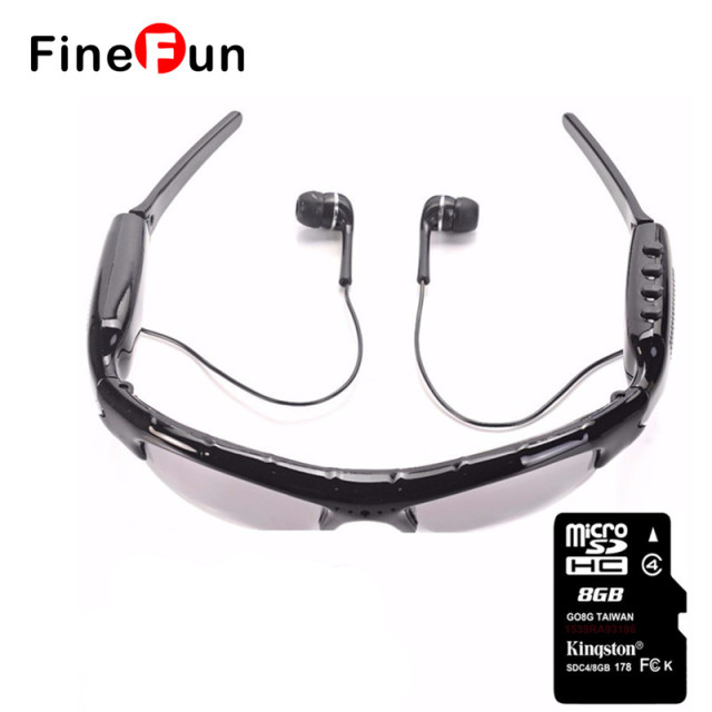 FineFun KL-339D Originales Gafas de Sol DVR Mini DV Audio Video Recorder Videocámaras Video Camara MP3 Auriculares Gafas Inteligentes Tarjeta de TF