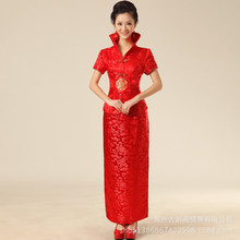 Factory direct winter turtleneck red cheongsam bride wedding suit dress can be tailored to show pictures