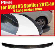 For Audi A3 A3Q Carbon Rear Spoiler A3 Big V Style Carbon rear spoiler Rear trunk Lid Boot Lip wing car styling Decoration 2013+ a3 rear trunk spoiler wing lip small aev style carbon fiber for a3 a3q auto air rear trunk spoiler tail wing car styling 2013 in