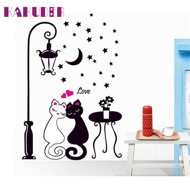 Wall Stickers With Cat Butterflies and Room Lamp