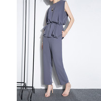 Chiffon Wide Leg Pants Suit Female 2017 Spring Summer New Fashion Sleeveless Tops Irregular Two Piece