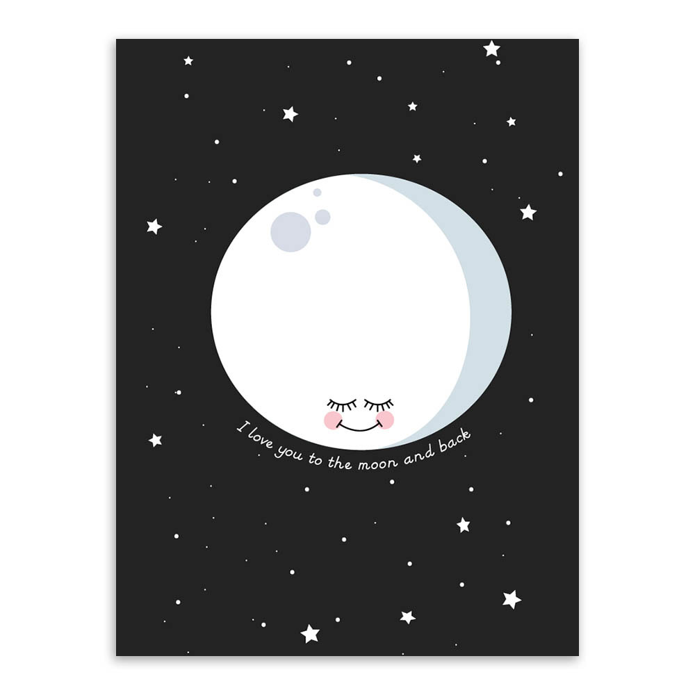 Cartoon Love Quotes Nordic Minimalist Moon Love Quotes A4 Large Art Print Poster