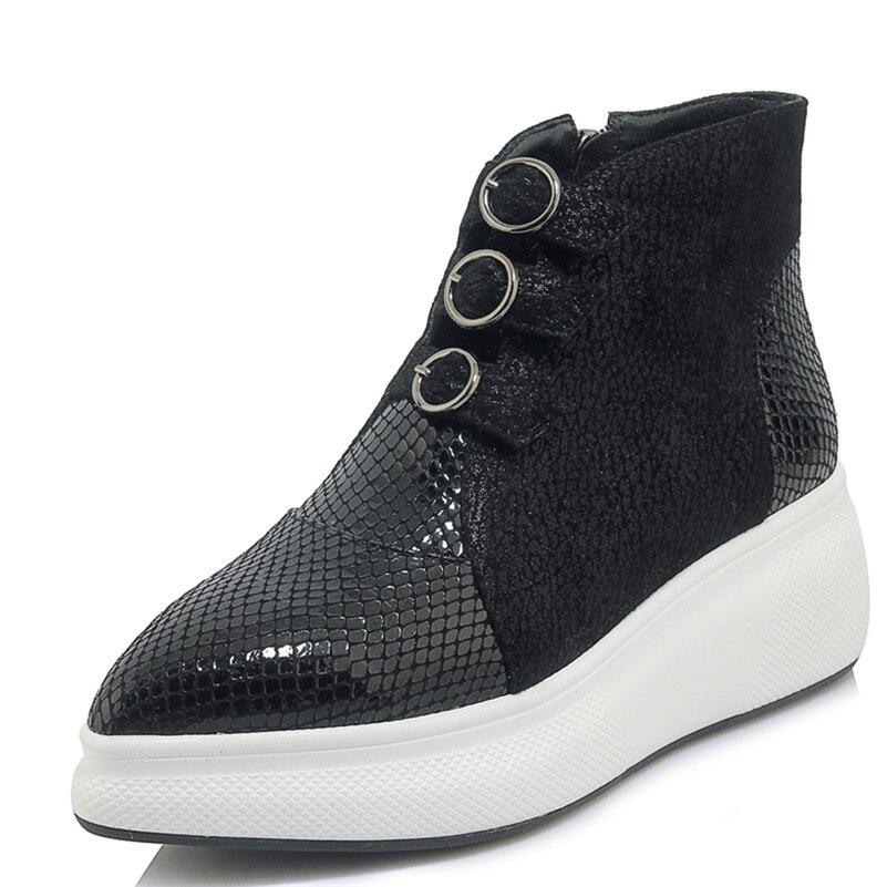 Fedonas 새로운 여성 발목 부츠 정품 가죽 웨지 하이힐 신발 캐주얼 가을 겨울 따뜻한 플랫 신발 여성 기본 부츠-에서앵클 부츠부터 신발 의  그룹 2
