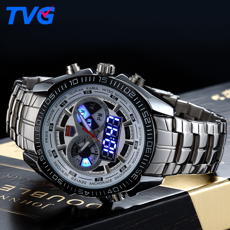 TVG Male Sports Watch Men Full stainless steel waterproof Quartz-watch Digital Analog Dual display Men's LED Military Watches стоимость