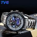 TVG Masculino Sports Watch Men Completa de aço inoxidável à prova d' água de Quartzo-relógio Analógico Digital Dual display LED Militar dos homens relógios