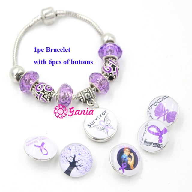 1pc New Arrival Pancreatic Cancer Awareness Jewelry Diy European Style Purple Ribbon Bracelet For