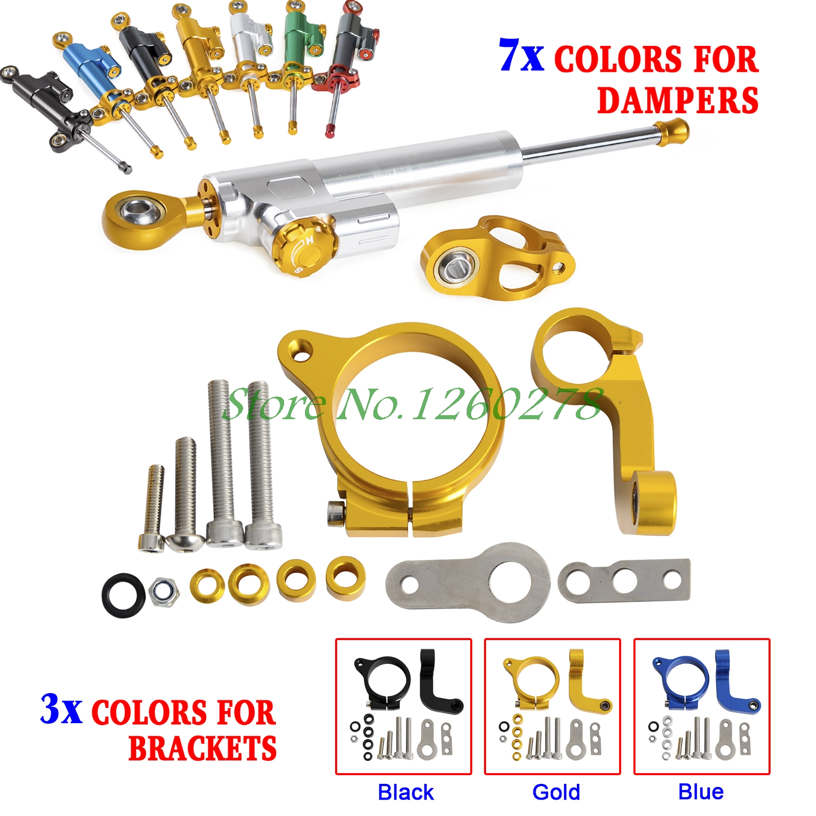 Motorcycle CNC Steering Damper Stabilizer & Bracket For BMW R1200GS LC 2013 2014 only (Water Cooled)