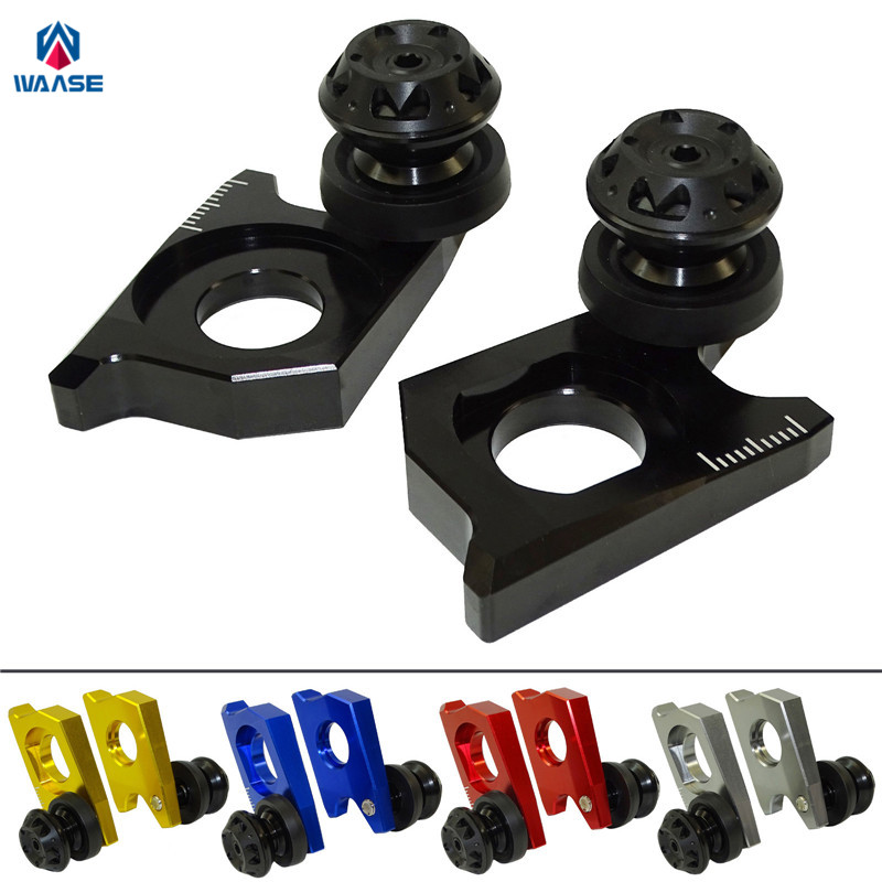 waase Motorcycle Chain Adjuster Tensioners Catena with Spools For Suzuki GSXR1000 2009 2010 2011 2012 2013 2014 2015 2016 mad moto high quality motorcycle chain adjuster with paddock bobbin fit for aprilia rsv4 2009 2010 2012 2013 2014 red black