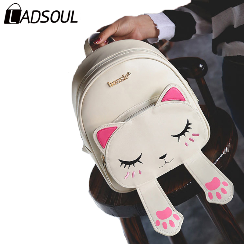 LADSOUL Backpack PU Leather Backpack Women Lady Lovely Cat Letter Backpacks Bags For Girl School Style Bag Fashion Bags A4391/h new fashion faux leather backpack woman backpacks for women for the traveling lady tote bags pu leather champagne girl daily bag