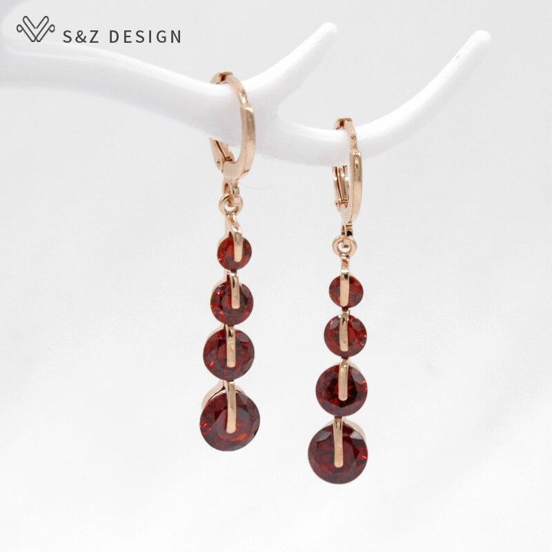 S&Z Fashion New Women/Girl's Gold Color CZ Zircon Pierced Dangle Drop Earrings Korean Gift Jewelry