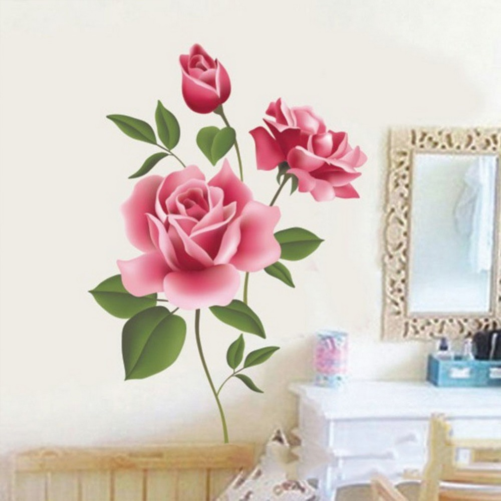 % PVC Romantic Rose Flower Love 3d Wall Sticker Home Decor Living Room Bedroom kitchen flower shop Decals Mothers Day gift