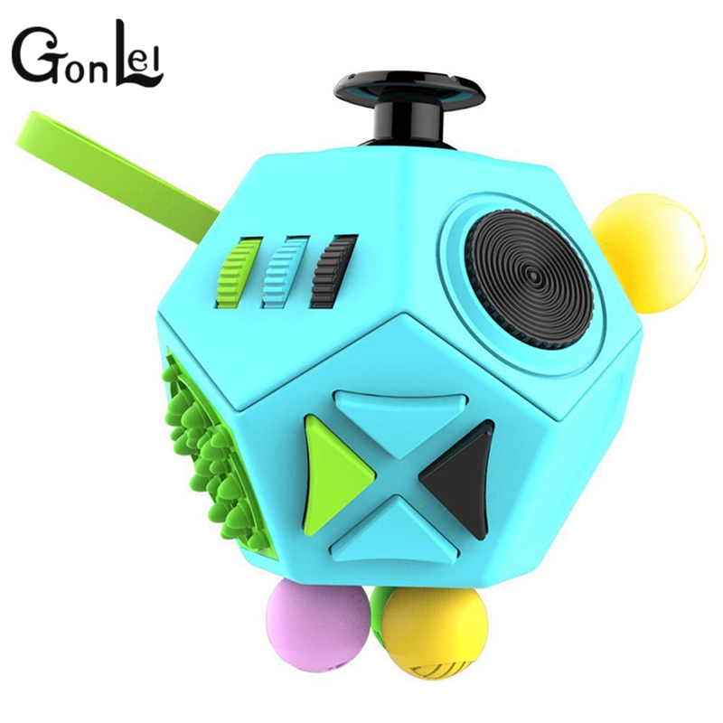 GonLeI Fidget Cube 12 Sides New Anti Stress Reliever Puzzle Magic Cube 2 Kid Adults Finger Spinner Antistress Cube Toy random co