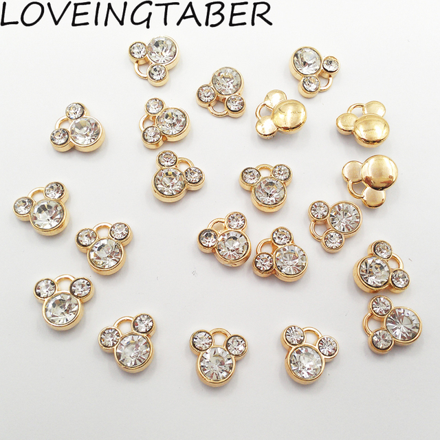 13mm 13mm 30pcs lot Gold Color Rhinestone Minnie Small Charm Pendants  Jewelry Making Handmade c056892127d7
