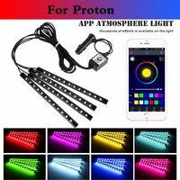 New 4PCS Remote Control Car RGB Strip Light Atmosphere Foot Lamp For Proton Gen 2 Inspira