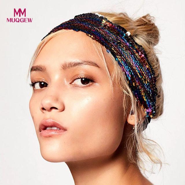 hair accessories headband for women Sequins Headbands Elastic Head Wrap  Wide Hair newest style hot Accessories arco de cabelo e03ad9865fe