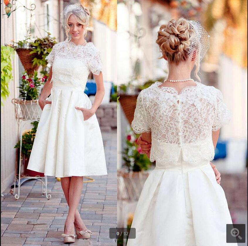 Petite Gowns For Weddings: Robe De Soiree Short Vintage Lace With Jackets Modest