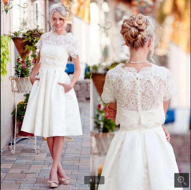 Robe De Soriee New Simple Wedding Dress Full Sleeve Lace: Robe De Soiree Short Vintage Lace With Jackets Modest