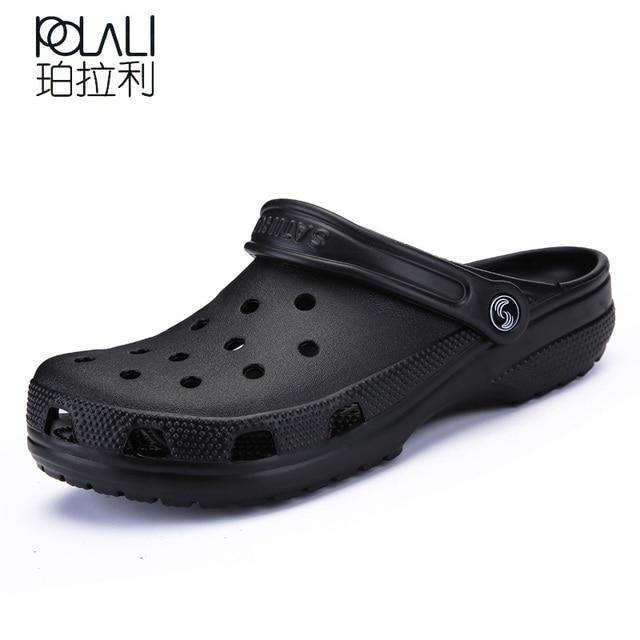 101a69e72 POLALI 2018 Men Sandals Summer Slippers Shoes Croc fashion beach Sandals  Casual Flat Slip On Flip