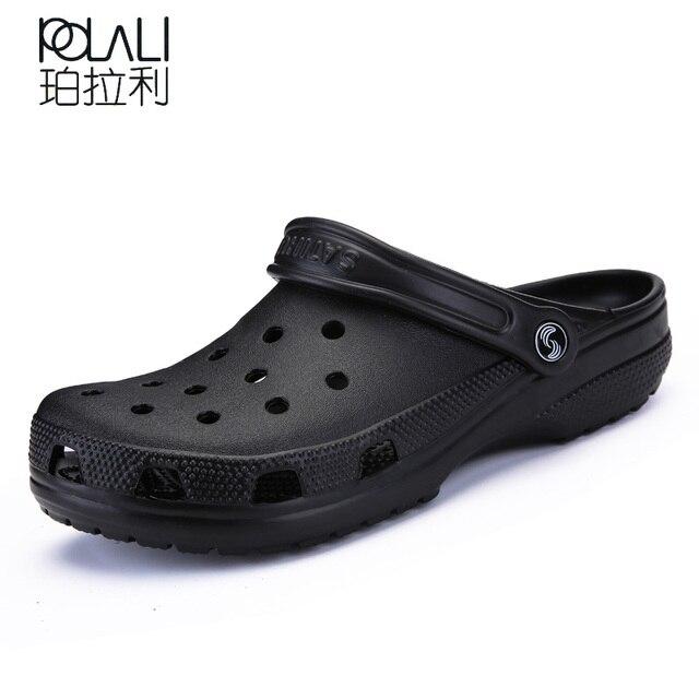 POLALI 2018 Uomini Sandali Pantofole estive Scarpe Croc Sandali da spiaggia moda Casual Slittamento Piatto Su di Vibrazione di Cadute di Uomini Hollow Scarpe ST263