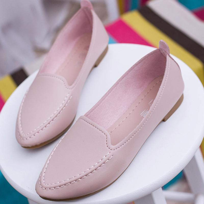 Pink/White/Black/Blue Fashion Women Pointed Toe Loafers Shoes Comfortable Leather Slip On Soft PU Shoes Ballet Casual Flats Shoe