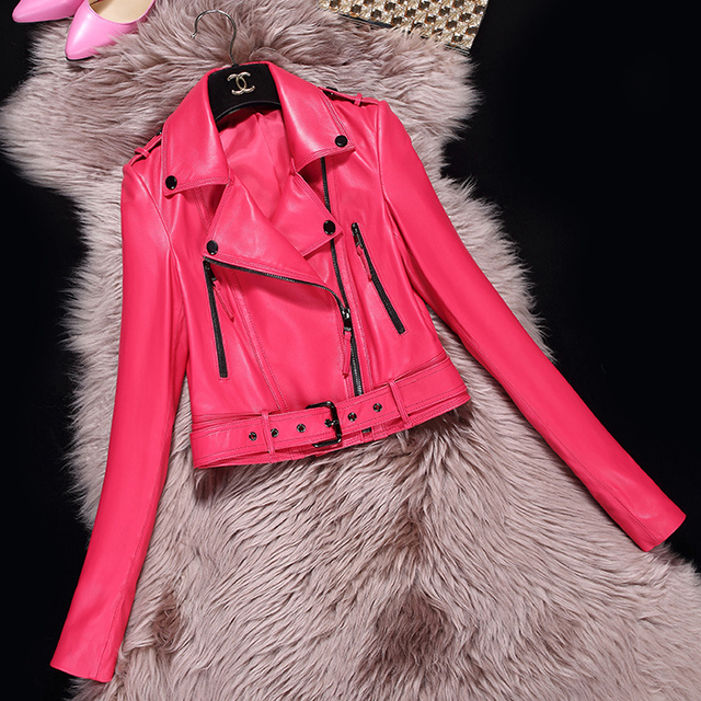 Spring autumn Short genuine leather jacket Women sheepskin motorcycle clothing femalekorea sexy slim OL Zippers design Jacket 3