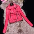 Женщины, Короткая кожаная куртка овчины натуральной кожи мотоцикл одежды женский Весна осень корея тонкий Молнии дизайн Куртки