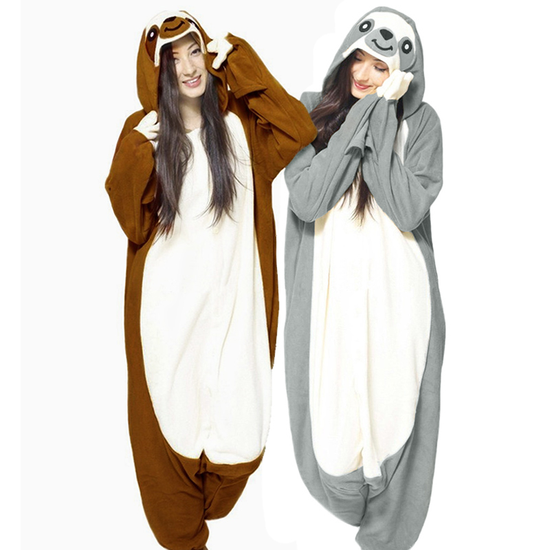 Animal Onesie Cosplay Costume Adult Sloth Hooded Pajamas with two color XS-XXL