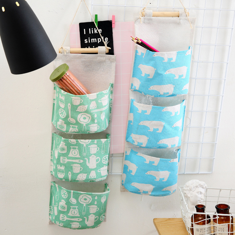 Flamingo Pattern Cotton Linen Hanging Storage Bag 3 Pockets Wall Mounted Wardrobe Hang Bag Wall Pouch Cosmetic Toys Organizer Buy One Get One Free Home & Garden