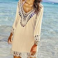 Puseky 2017 Kadın Lady El Tığ Mayo Mayo Bikini Cover Up Plaj Gömlek Plaj Kıyafeti Mayo Mayo Cover Up