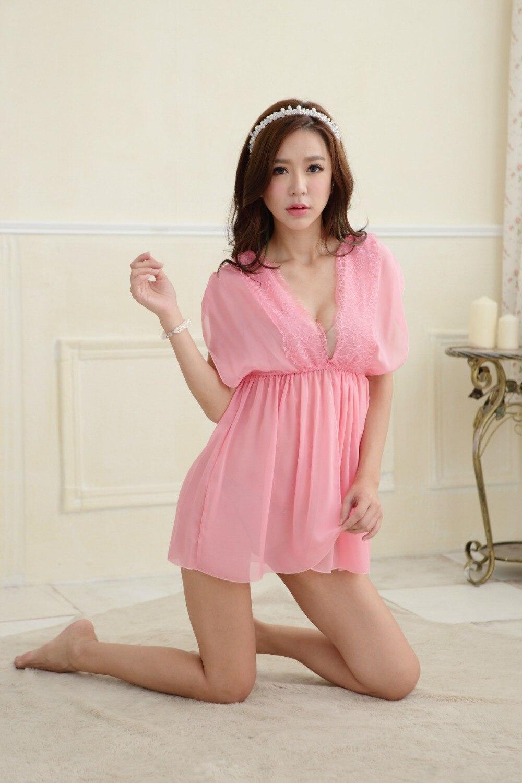 sexy desain baju tidur sleepshirts wanita warna murni gaun sifon baru gadis lucu di dari pakaian