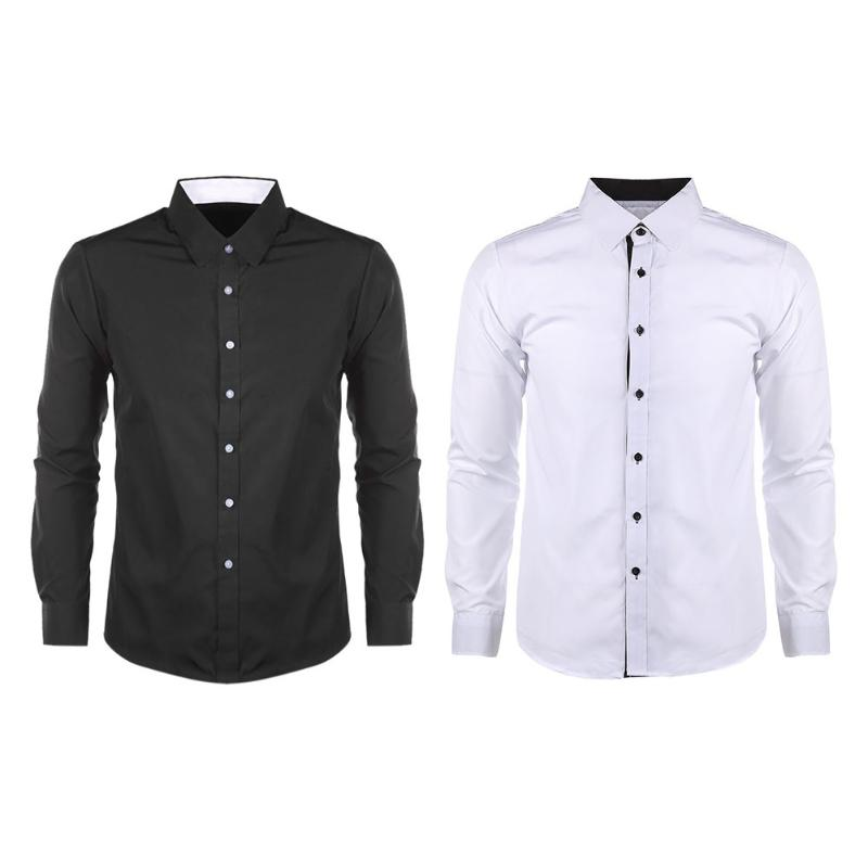 2018 Men\'s Fashion Bussiness Shirt New Arrivals Matching Long Sleeve Easy Care Non-iron Formal Slim Fit Shirts Factory Price image