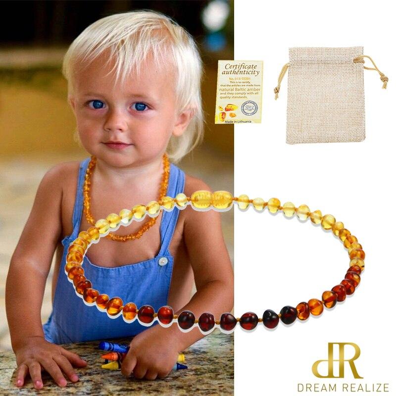 Collar de ámbar Natural clásico DR Certificado de suministro autenticidad genuino Báltico piedra collar de bebé regalo 10 colores 14-33 cm