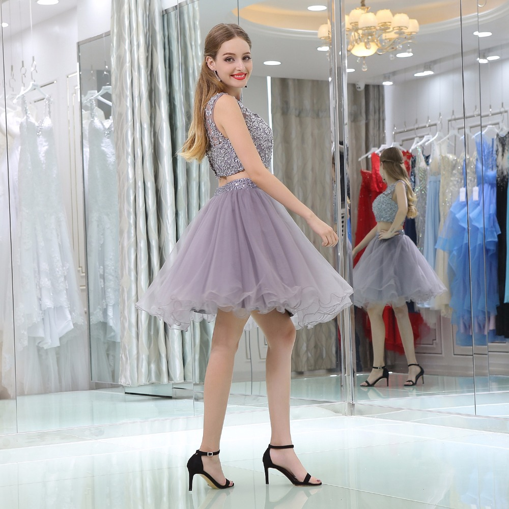 b537467127e 2018 Cute Candy Color Homecoming Dresses Two Piece Tulle Applique Plus Size  Custom Made Formal Graduation Gowns