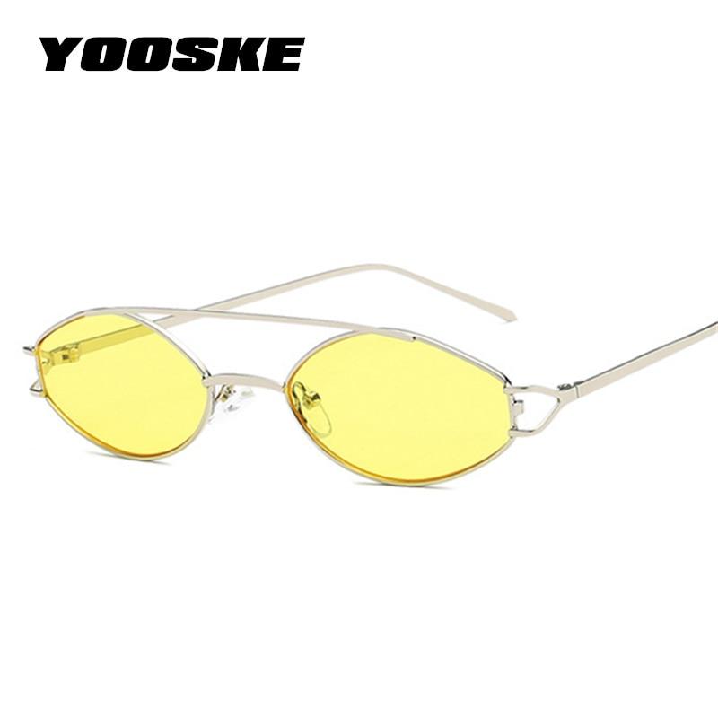 b972a00606082 YOOSKE Gato Olho Óculos De Sol Das Mulheres Marca de Luxo Retro Pequenos óculos  de Armação de Metal óculos de Sol Rosa 90 s Amarelo Preto Sunglass Shades  ...