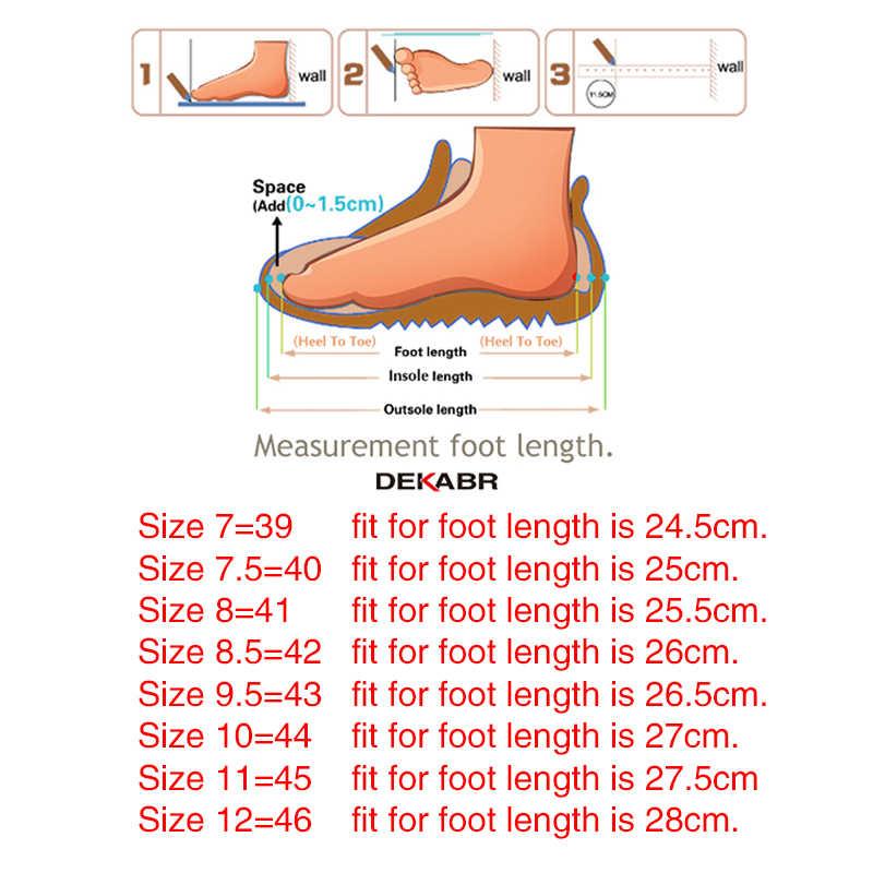 Мужские ботинки из ПУ кожи до щиколотки DEKABR, темно-синяя брендовая удобная модная теплая зимняя обувь с подкладкой из короткого плюша, размеры 39-46, 2019