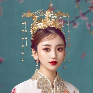 Image 2 - HIMSTORY Luxus Hochzeit Braut Vintage Chinesischen Pfau Haar Zubehör Braut Kopfschmuck Gold Phoenix Tiara Krone Haar Schmuck