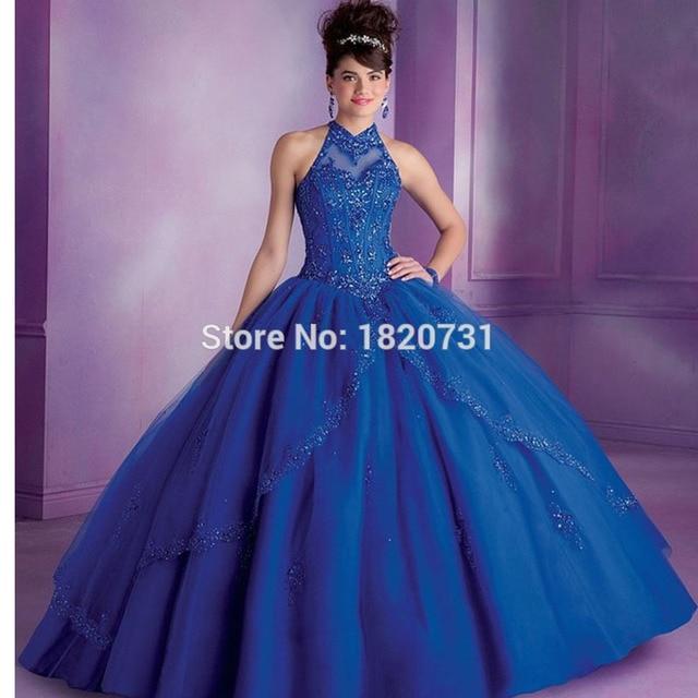 Sweet 16 princesa azul vestidos quinceanera masquerade ball vestidos de gola alta de cristal champagne azul royal vestidos quinceanera