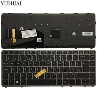 UK New laptop keyboard For HP EliteBook 840 G1 850 G1 ZBook 14 HP 840 G2 Silver backlight with pointing stick