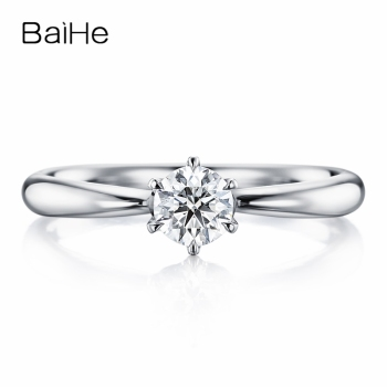 BAIHE Solid 10K White Gold 0.25ct Certified Round cut Moissanite Wedding Custom jewelry Women Trendy Fine Jewelry Round Ring image