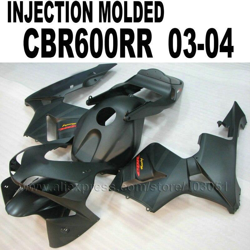 Injection ABS Motobike Bodywork For Honda Fairing Kits CBR600RR 2003 2004 CBR 600 RR 03 04 CBR 600RR All Matte Black Fairings